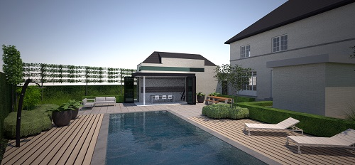 Render renovatie met poolhouse Limburg